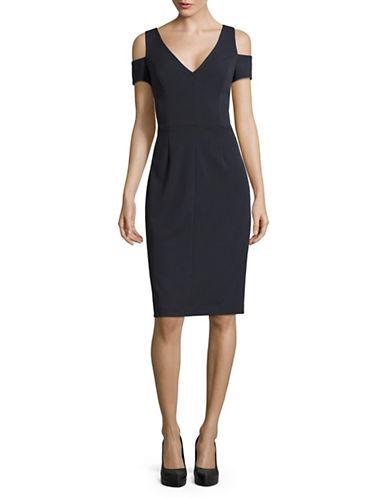 Vera Wang Cold-Shoulder Sheath Dress-GREY-4