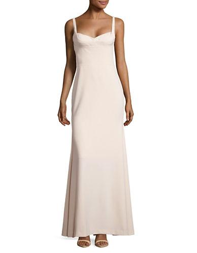 Vera Wang Sweetheart Neck Column Gown-BEIGE-8