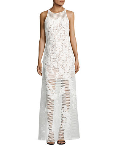 Vera Wang 3D Lace Trumpet Gown-WHITE-12