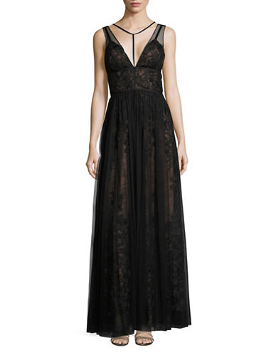 Vera Wang Caged Deep-V Lace and Mesh Gown-BLACK-12