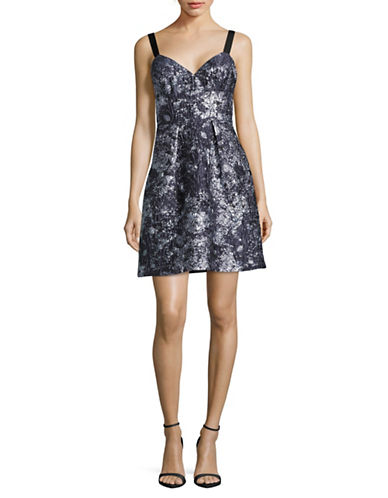 Vera Wang Sleeveless Sweetheart Jacquard Dress-BLUE-6