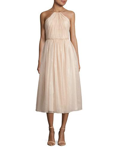 Vera Wang Hathed Halter Dress-PINK-14