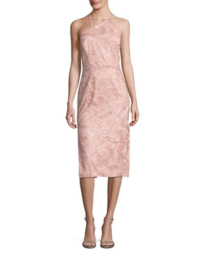 Vera Wang Sequined Embroidered Halter Dress-PINK-8