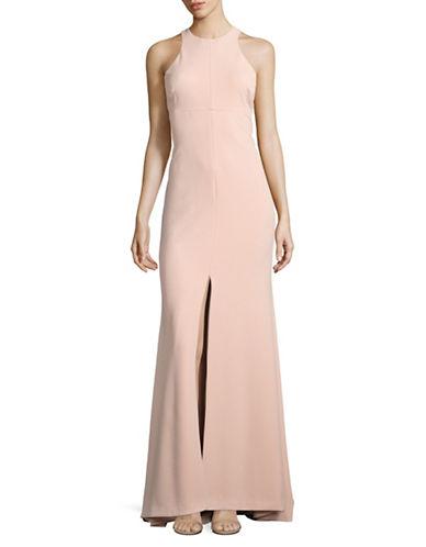 Vera Wang Crepe Halter Neck Gown-PINK-14