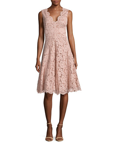 Vera Wang Sleeveless Lace V-Neck Fit-and-Flare Dress-PINK-10