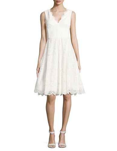Vera Wang Sleeveless Lace V-Neck Fit-and-Flare Dress-IVORY-8