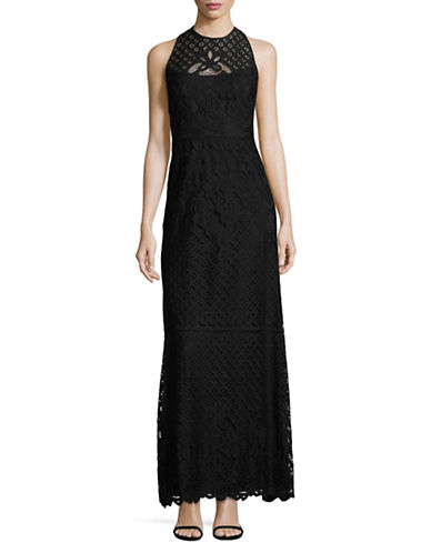 Vera Wang Sleeveless Illusion Lace Gown-BLACK-8