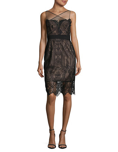 Vera Wang Illusion Lace Dress-BLACK-8