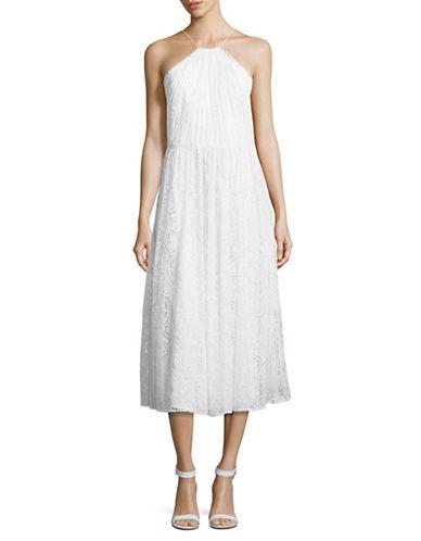 Vera Wang Lace Gathered Halter Dress-IVORY-10