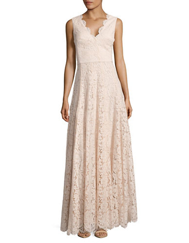 Vera Wang Sleeveless Double-V Lace Gown-PINK-10