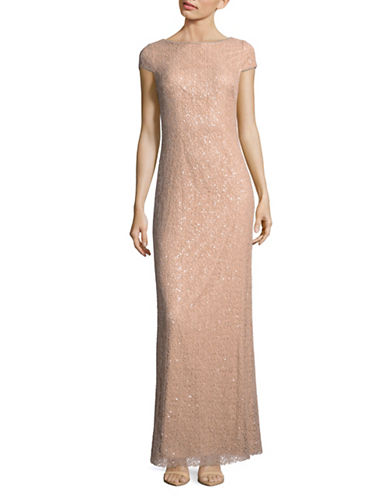 Vera Wang Cap Sleeve Sequin Knit Gown-PINK-16