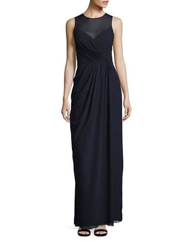 Vera Wang Sleeveless Illusion Surplice Gown-NAVY-10