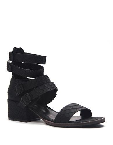 Freda Salvador Embossed Leather Sandals-BLACK-10