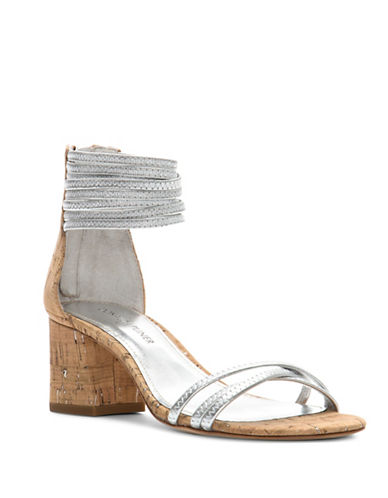 Donald J. Pliner Essie Metallic Leather Sandals-SILVER-7.5