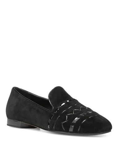 Donald J. Pliner Haylie SP Leather Loafers-BLACK-9