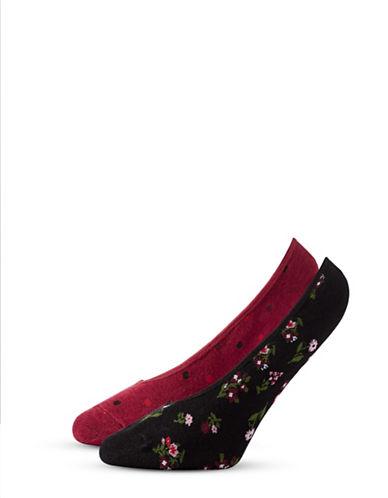 Kate Spade New York Womens Two-Pack Print Liner Socks-BLACK-One Size