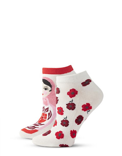 Kate Spade New York Womens Two-Pack Print Ankle Socks-BEIGE-One Size
