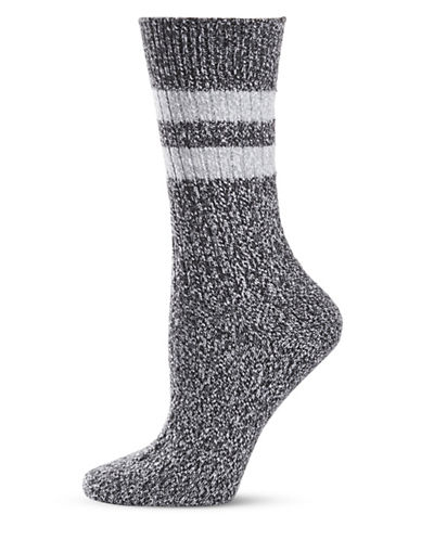 Frye Athletic Stripe Supersoft Boot Socks-BLACK-9-11