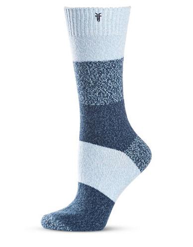 Frye Colourblock Supersoft Boot Socks-NAVY-9-11