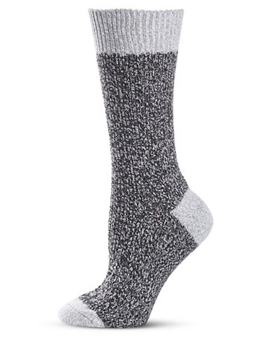 Frye Texture Tipping Supersoft Boot Socks-BLACK-9-11