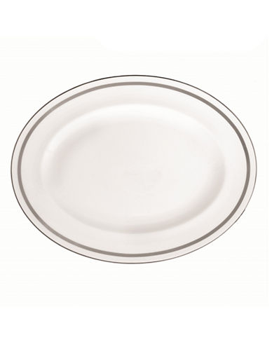 Vera Wang Vera Infinity Oval Platter-WHITE/PLATINUM-One Size