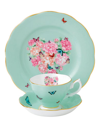 Royal Albert Miranda Kerr Blessings Teacup Saucer and Plate-GREEN-One Size