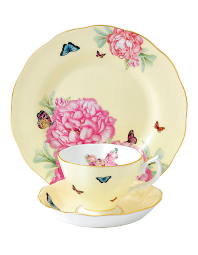 Royal Albert Miranda Kerr Joy Teacup Saucer and Plate Set-YELLOW-One Size