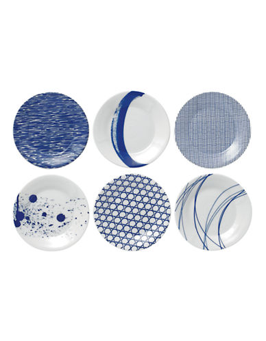 Royal Doulton Pacific Tapas Plates Mixed Set of 6-BLUE-One Size