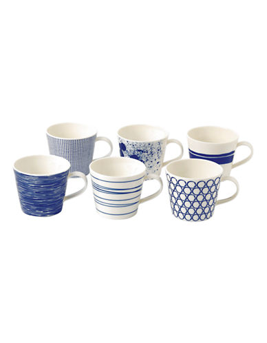 Royal Doulton Pacific Accent Mugs Mixed Set of 6-BLUE-One Size