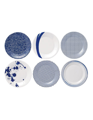 Royal Doulton Pacific Accent Plates Mixed Set of 6-BLUE-One Size