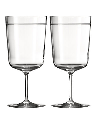 Vera Wang Bande Two-Piece Goblet Set-CLEAR-One Size