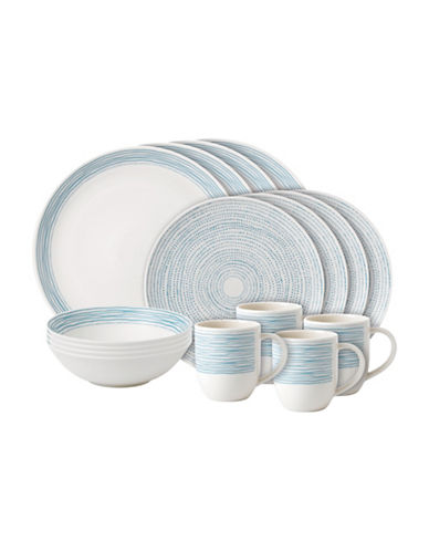 Ed Ellen Degeneres Crafted by Royal Doulton 16-Piece Polar Blue Dots Dinnerware Set-BLUE-One Size