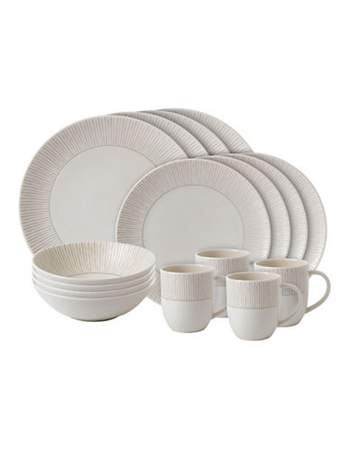 Ed Ellen Degeneres Crafted by Royal Doulton 16-Piece Taupe Stripe Dinnerware Set-TAUPE-One Size