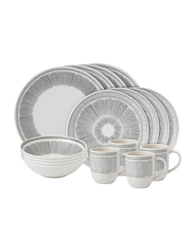 Ed Ellen Degeneres Crafted by Royal Doulton 16-Piece Grey Line Dinnerware Set-GREY-One Size