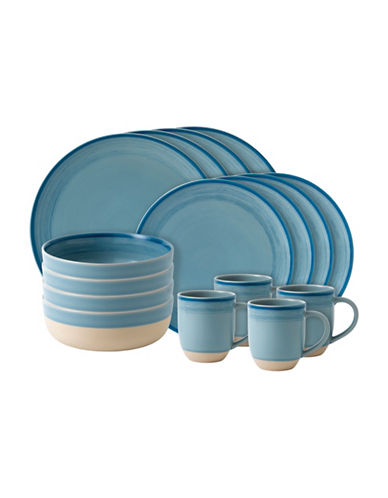 Ed Ellen Degeneres Crafted by Royal Doulton 16-Piece Polar Blue Brushed Glaze Dinnerware Set-BLUE-One Size