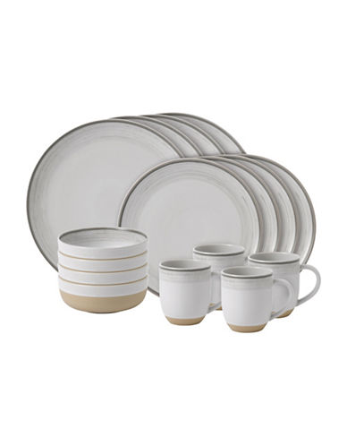 Ed Ellen Degeneres Crafted by Royal Doulton 16-Piece White Brushed Glaze Dinnerware Set-WHITE-One Size