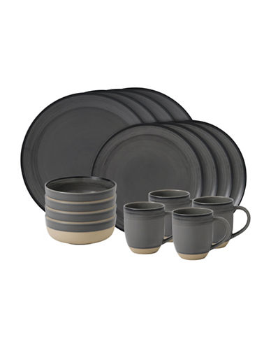 Ed Ellen Degeneres Crafted by Royal Doulton 16-Piece Grey Brushed Glaze Dinnerware Set-GREY-One Size