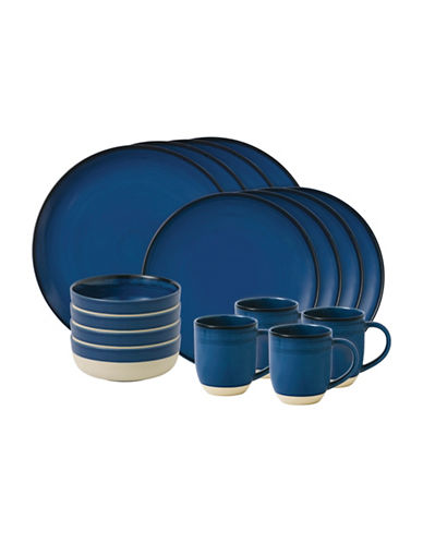 Ed Ellen Degeneres Crafted by Royal Doulton 16-Piece Dark Blue Brushed Glaze Dinnerware Set-DARK BLUE-One Size