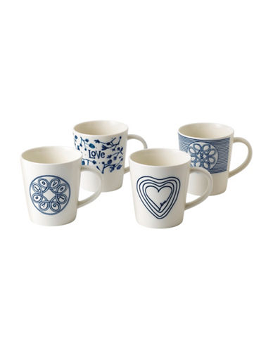 Ed Ellen Degeneres Crafted by Royal Doulton Four-Piece Blue Love Accent Mixed Mugs Set 88904237