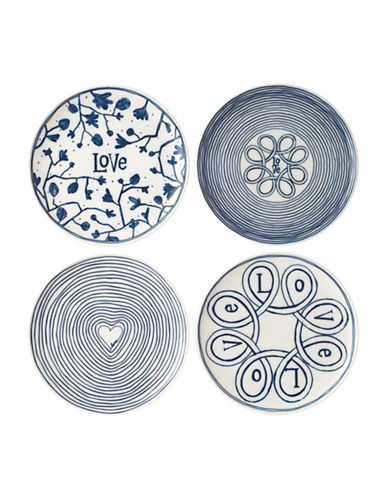 Ed Ellen Degeneres Crafted by Royal Doulton 8-Inch Four-Piece Blue Love Accent Mixed Plates Set-BLUE-One Size