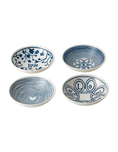Ed Ellen Degeneres Crafted by Royal Doulton 5.5-Inch Four-Piece Blue Love Accent Mixed Plates Set-BLUE-One Size