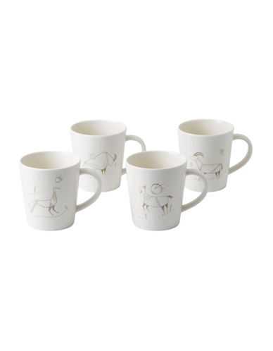 Ed Ellen Degeneres Crafted by Royal Doulton Four-Piece Cave Animal Accents Mixed Mugs Set-BEIGE-One Size