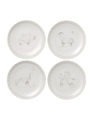 Ed Ellen Degeneres Crafted by Royal Doulton Four-Piece 6-Inch Cave Animal Accents Mixed Plates Set-BEIGE-One Size