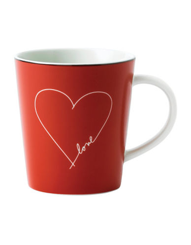 Ed Ellen Degeneres Crafted by Royal Doulton White Heart Red Mug-RED-One Size