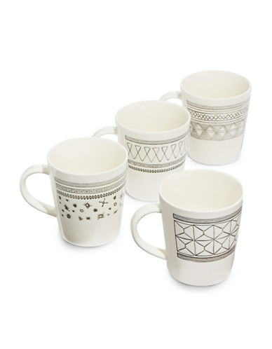 Ed Ellen Degeneres Set of Four Kindness, Smile, Joy and Love Porcelain Mugs-GREY-One Size