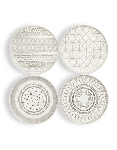 Ed Ellen Degeneres Four-Piece Geometric Plates Set-GREY-One Size
