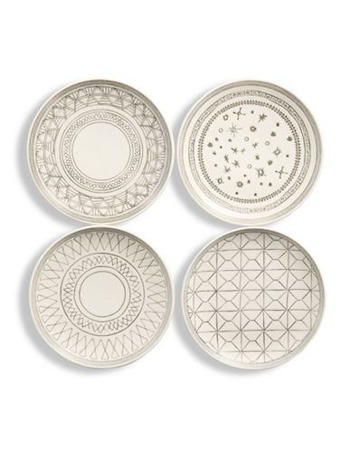 Ed Ellen Degeneres Set of Four Mixed Round Porcelain Plates-GREY-One Size