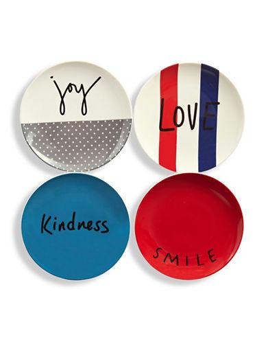 Ed Ellen Degeneres Set of Four Mixed Graphic Porcelain Plates-ASSORTED-One Size