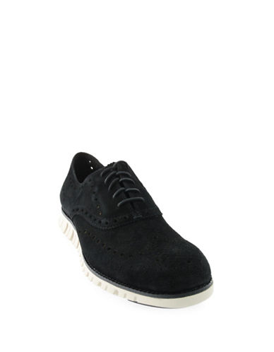Cole Haan ZeroGrand Wing Suede Shoes-BLACK-10.5
