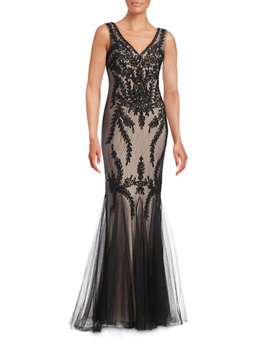 Cachet Ribbon Lace Godet Gown-BLACK-4